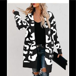 🆕Leopard Open Front Knit Cardigan with Pockets